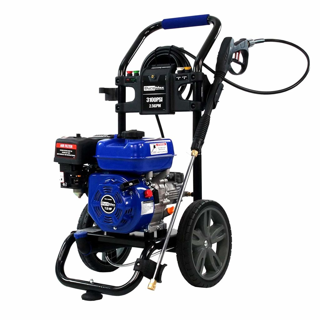 The Duromax XP3100PWT is our top rated gas powered pressure washer