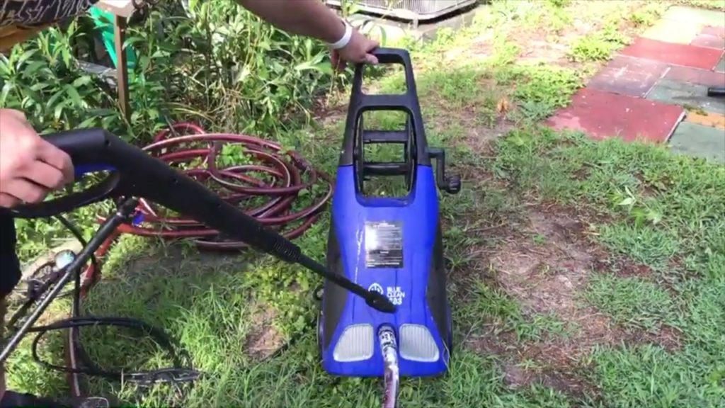 Blue Clean AR383 pressure washer action shot