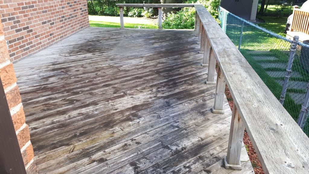deck before being pressure washed